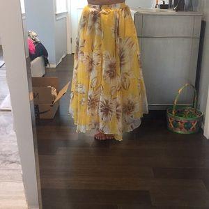 Yellow floral maxi skirt